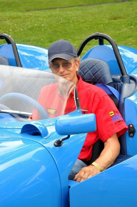 Wil de Groot with his custom Maserati powered one off roadster, the 'DG'