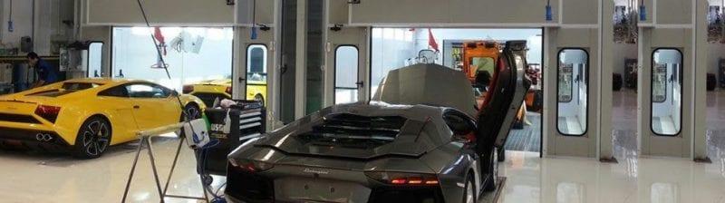Lamborghini factory paint booth