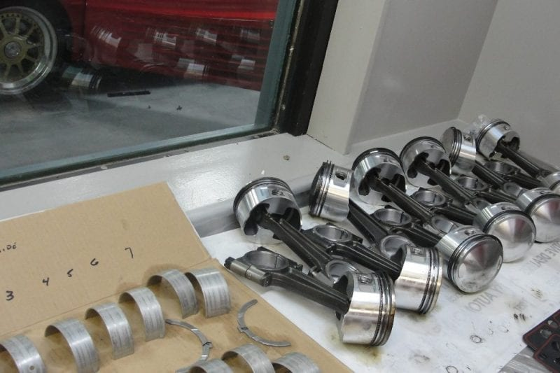 vintage Ferrari engine new pistons and bearings